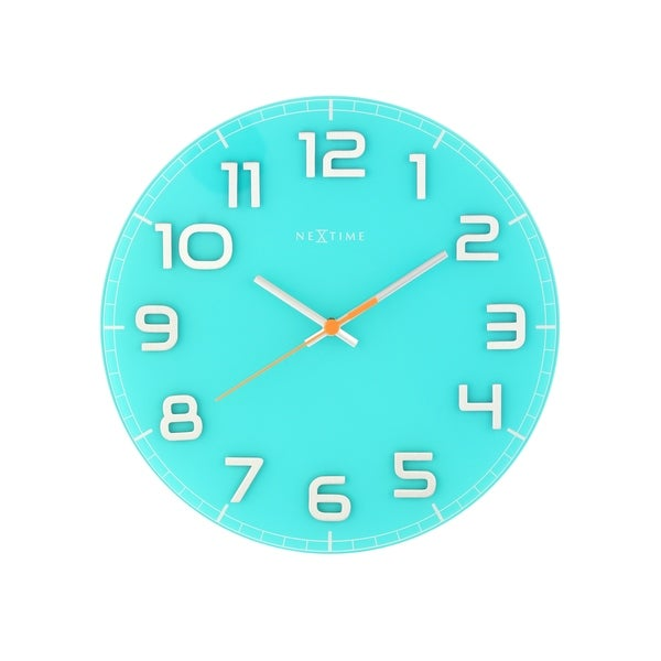 Unek Goods Nextime Classy Round Wall Clock, Turquoise, Decorative, Shiny Silver Big Numbers, Glass, Battery Operated
