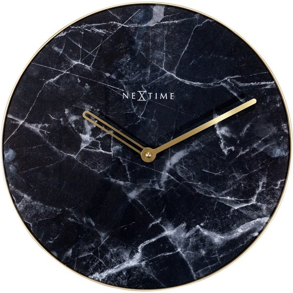"""Unek Goods NeXtime Marble Wall Clock, Decorative Glass and Metal, Black Marble Design, 15.75"""" Diameter, Battery Operated"""