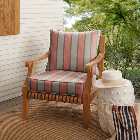 Pink Grey Striped Deep Corded Chair Pillow and Cushion Set by Havenside Home