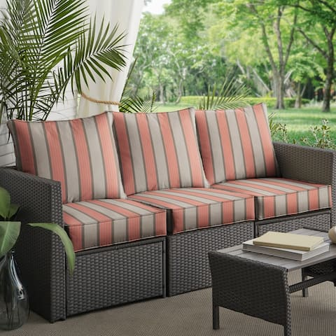 Pink Grey Striped Deep Corded Sofa Pillow and Cushion Set by Havenside Home