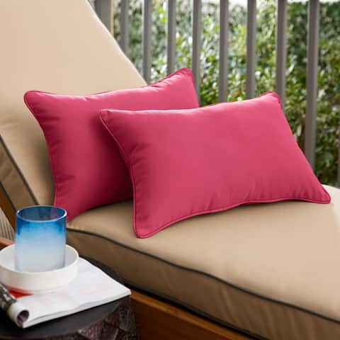 Hot Pink Corded Lumbar Pillows (Set of 2) by Havenside Home