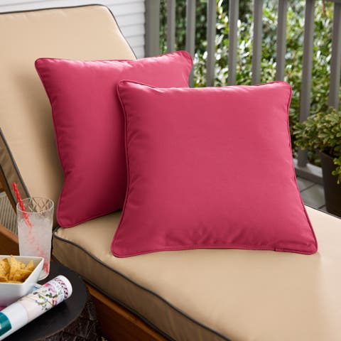 Hot Pink Corded Square Pillows (Set of 2) by Havenside Home