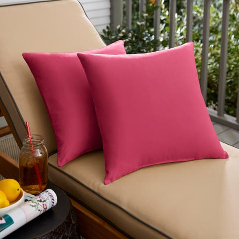Hot Pink Knife Edge Square Pillows (Set of 2) by Havenside Home