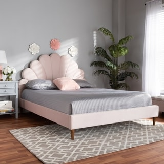 Odille Modern Glam Upholstered Seashell Shaped Platform Bed