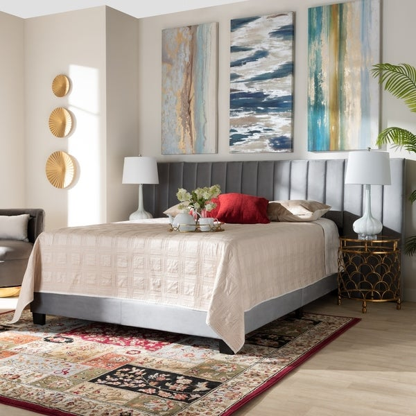 Silver Orchid Trouhanowa Glam and Luxe Upholstered Panel Bed with Extra Wide Headboard. Opens flyout.