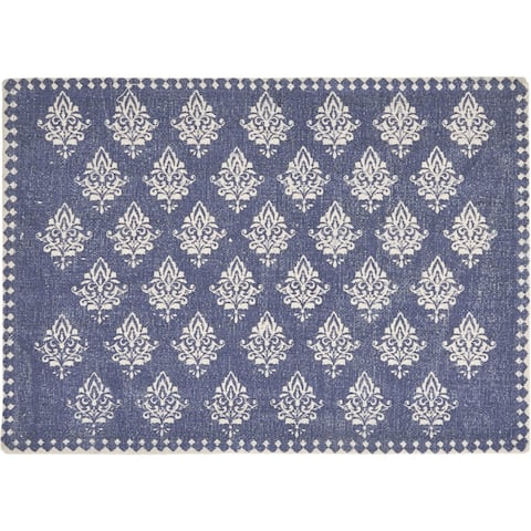 "Blue Fairytale Motif Bordered Place Mat - 1'-1"" X 1'-7"""
