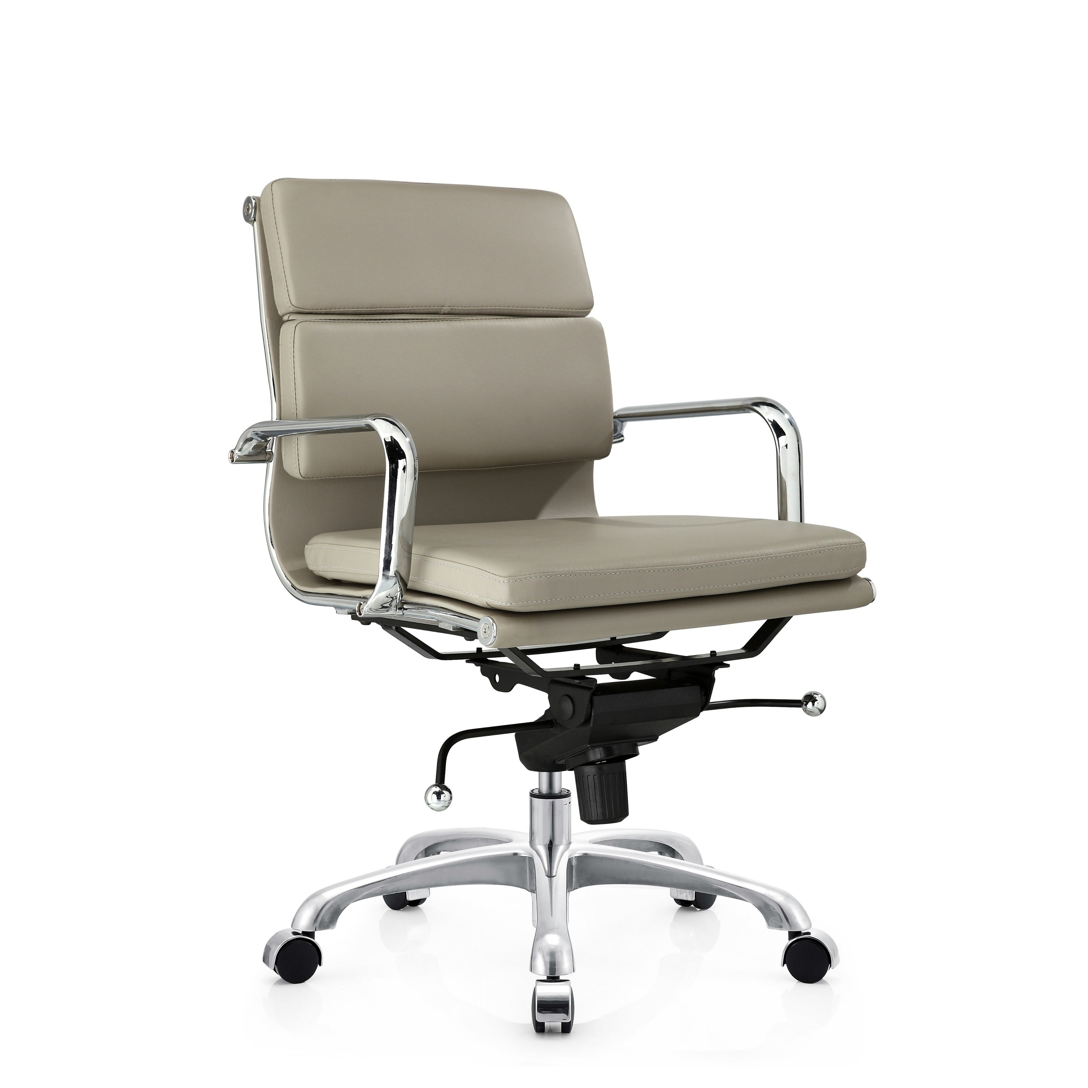 Grey PU leather low back Office chair