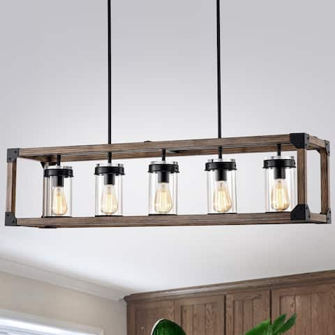 The Gray Barn Greta Grange 44-inch Forged Black and Wood Grain Pendant Lamp