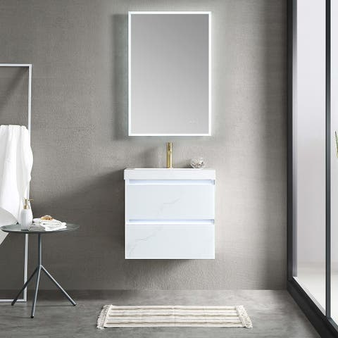 """24"""" / 30"""" / 36"""" Floating / Wall Huang Vanity Set With LED Mirror"""