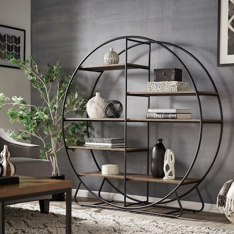 Armen Matte Black Finish Metal Round Bookcase by iNSPIRE Q Modern