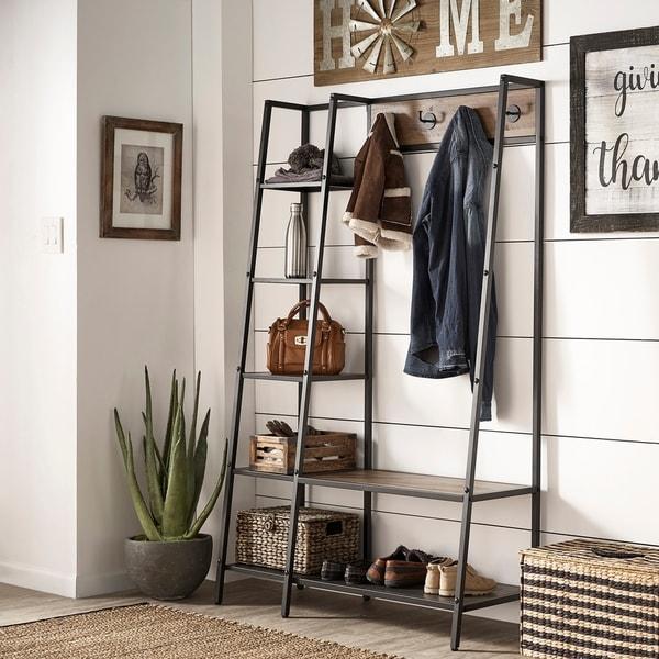 Duke Matte Black Finish Metal Coat Rack with Ladder Shelf by iNSPIRE Q Modern