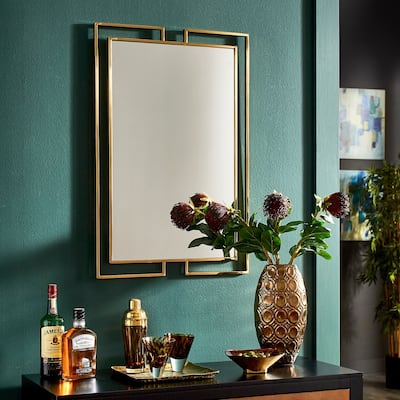 Indrani Gold Finish Frame Rectangular Wall Mirror by iNSPIRE Q Bold