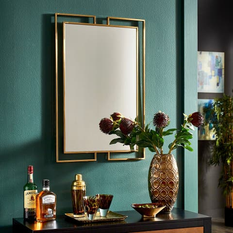 Indrani Gold Finish Frame Rectangular Wall Mirror by iNSPIRE Q Bold - Large
