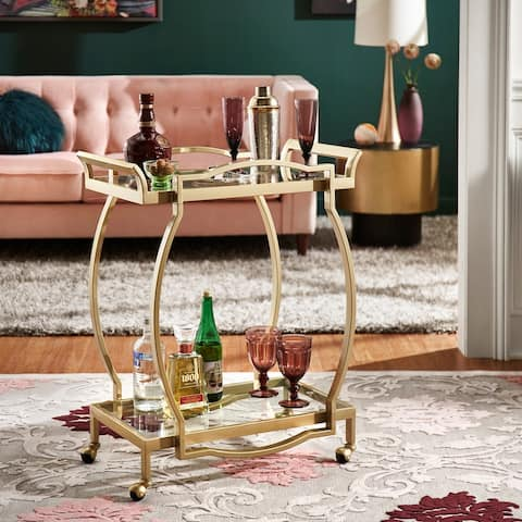 Chesley Gold Finish Clear Tempered Glass Metal Bar Cart by iNSPIRE Q Bold