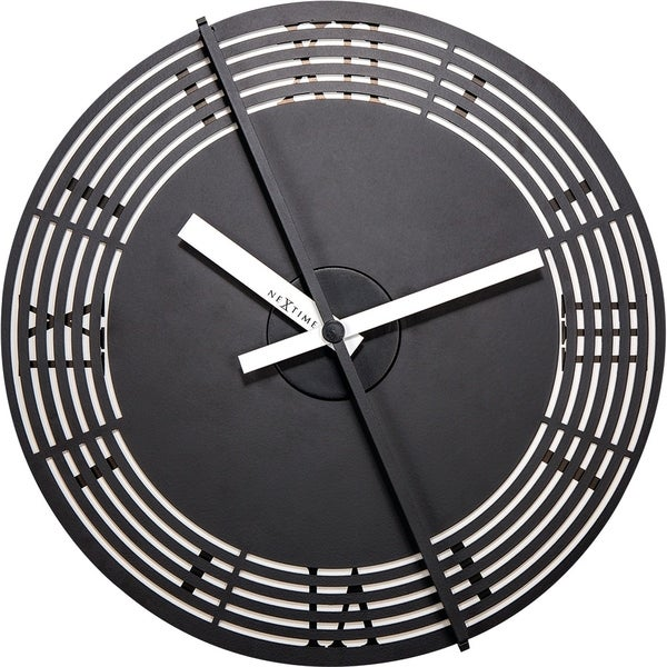 Unek Goods NeXtime Motion Roman Numerals Wall Clock, Round, Metal and Plastic, Black, Battery Operated
