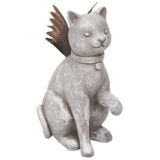 Transpac Resin 4 in. Gray Spring Prayer Cat with Metal Wings Figurine