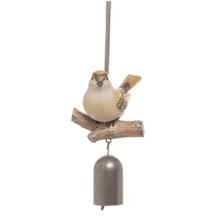 Transpac Resin 6 in. Brown Spring Bird with Bell Hanging Décor