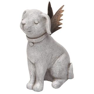 Transpac Resin 4 in. Gray Spring Prayer Dog with Metal Wings Figurine