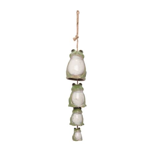 Transpac Ceramic 22 in. Green Spring Tiered Frog Wind Chime