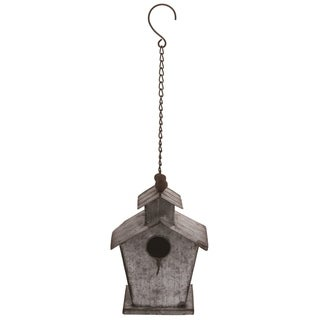 Transpac Metal 21 in. Silver Spring Corrugated Bird House with Chain