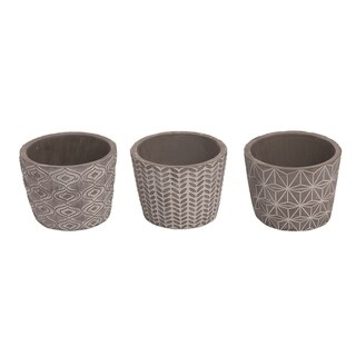 Transpac Stone 5 in. Gray Spring Geometric Graphic Planters Set of 3