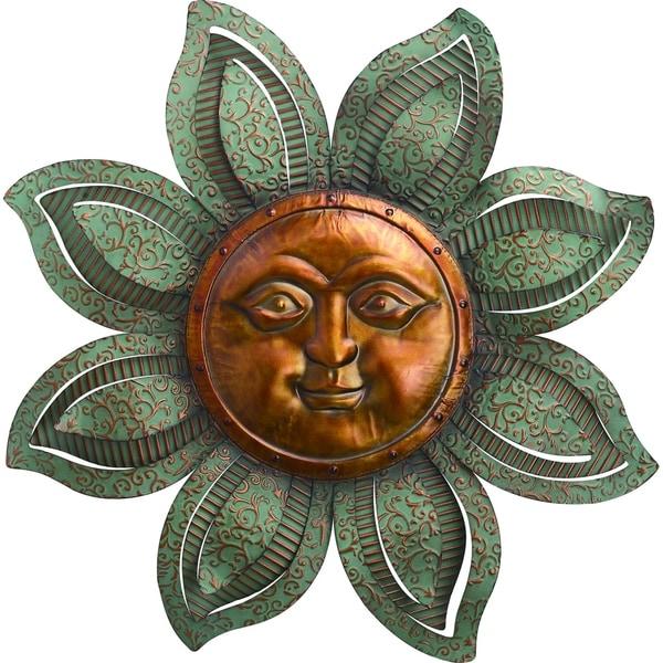 Transpac 30 in. Bronze Spring Celestial Textured Sun Face Wall Décor
