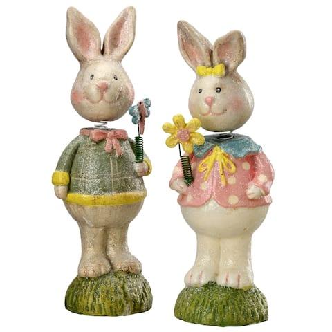 "8"" Spring Head Bunny Couple"