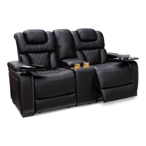 Seatcraft Bastion Loveseat Top Grain Leather 7000, Powered Headrest, Power Recline, Black