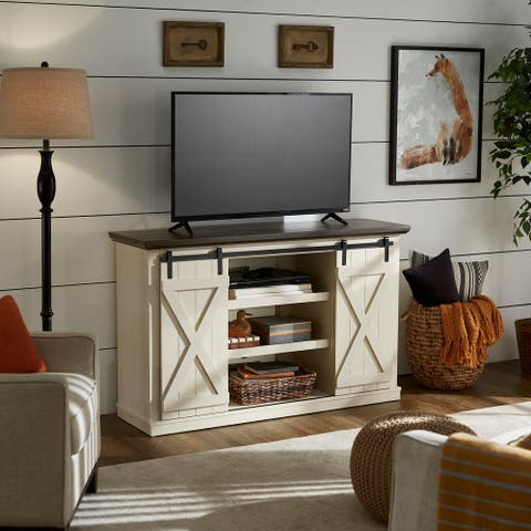 Walter Two-Tone White & Black Finish TV Stand by iNSPIRE Q Classic