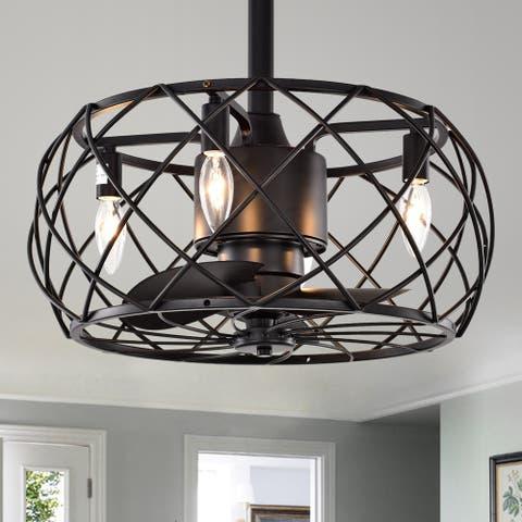 Carbon Loft Abrar Matte Black 3-blade Ceiling Fan with Open Metal Frame (Includes Remote)