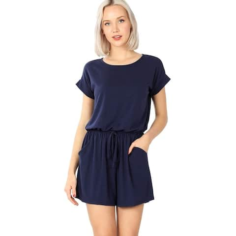 JED Women's Elastic Waist Comfy Knit Romper
