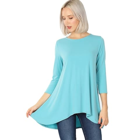 JED Women's 3/4 Sleeve Flared High Low Stretchy Tunic Top