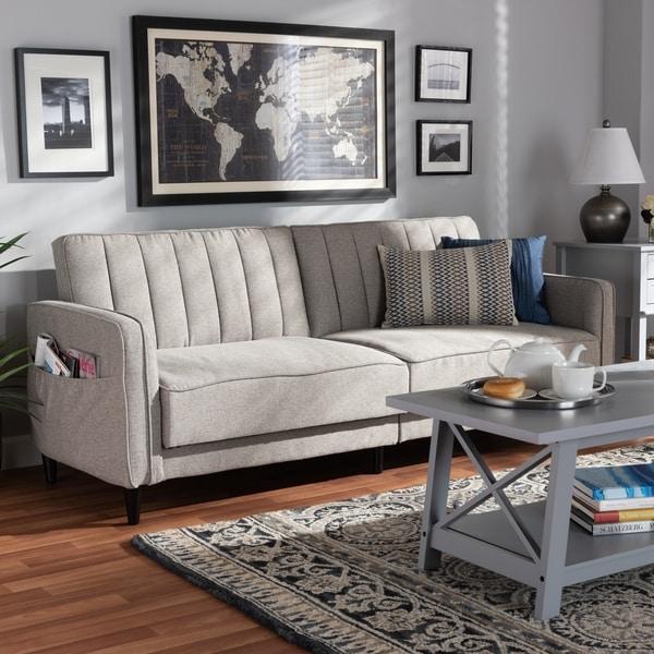 Shop Colby Mid Century Modern Upholstered Sleeper Sofa ...