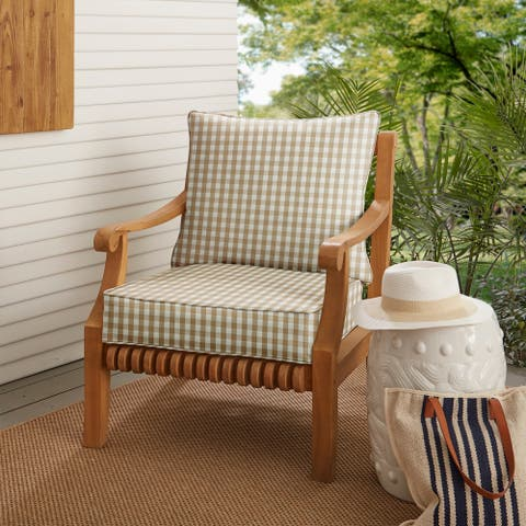 Beige White Check Deep Seating Chair Pillow Cushion Set by Havenside Home