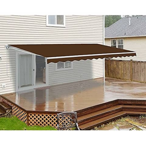 ALEKO Retractable Motorized Deck Patio Awning 20 x 10 Feet Brown Color