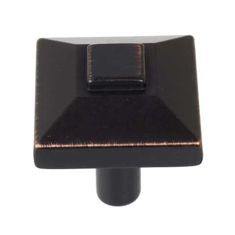 GlideRite 5-Pack 7/8 in. Rubbed Bronze Square Pyramid Cabinet Knobs - Oil Rubbed Bronze