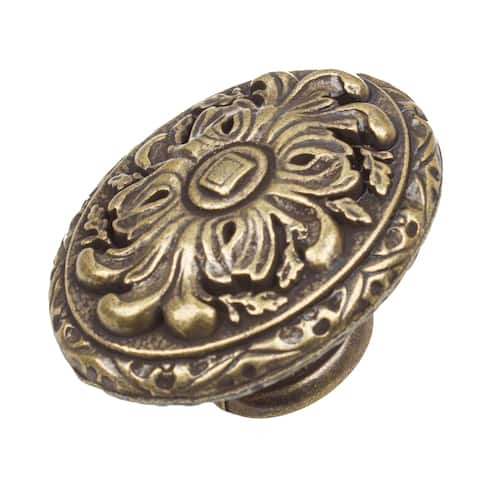 GlideRite 5-Pack 2 in. Antique Ornate Oval Cabinet Knobs