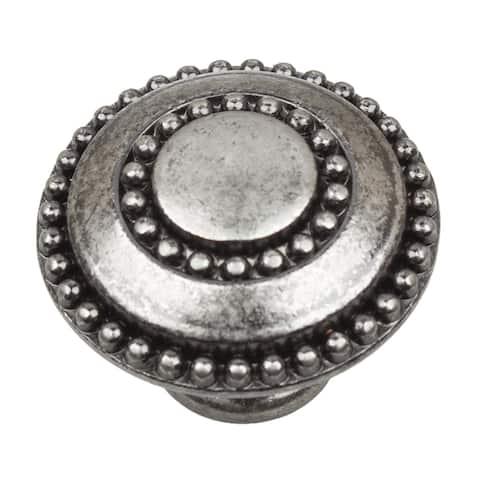 GlideRite 5-Pack 1-3/8 in. Weathered Nickel Round Beaded Cabinet Knobs - Weathered Nickel