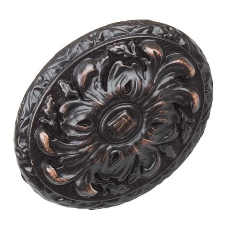 GlideRite 5-Pack 2 in. Oil Rubbed Bronze Ornate Oval Cabinet Knobs - Oil Rubbed Bronze