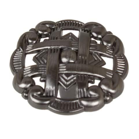 """GlideRite 5-Pack 1-3/8"""" Brushed Pewter Celtic Medallion Cabinet Knobs - Brushed Pewter"""