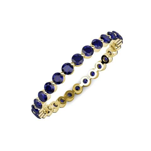 Trijewels Blue Sapphire 1 ctw Womens Eternity Band 14KY Gold