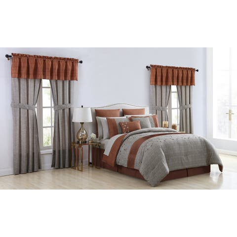VCNY Home Grace Embroidered Bed-in-a-Bag Comforter and Window Set