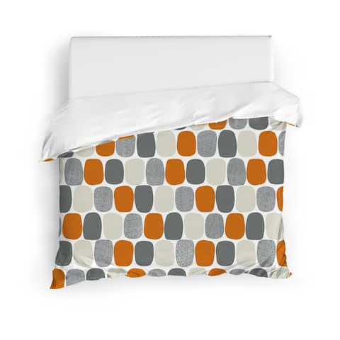 MID CENTURY OVALS ORANGE Duvet Cover By Kavka Designs