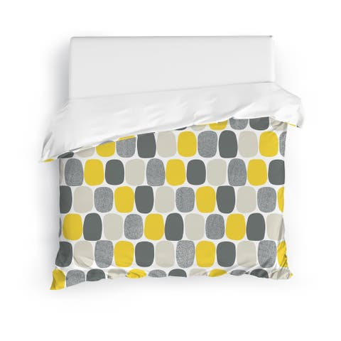 MID CENTURY OVALS YELLOW Duvet Cover By Kavka Designs
