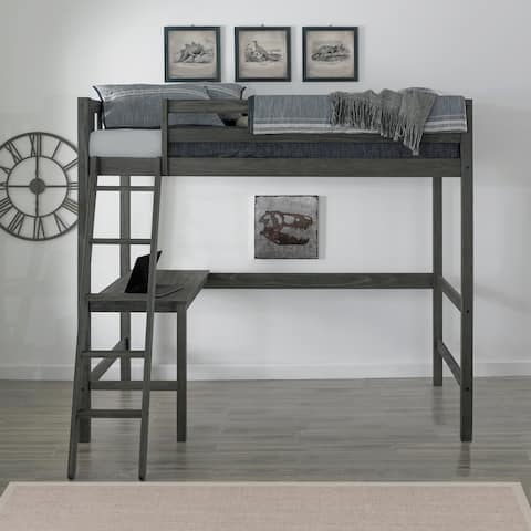 The Gray Barn Mountain Shadow Wirebrush Grey Twin Loft Bed