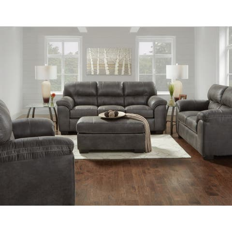 Tirana Contemporary Fabric Pillow-top Arm 4-Piece Sofa Set in Sequoia Ash