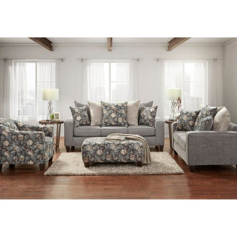 Fier Contemporary Fabric Pillow Back 4- Piece Sofa Set in Sparkle Graphite