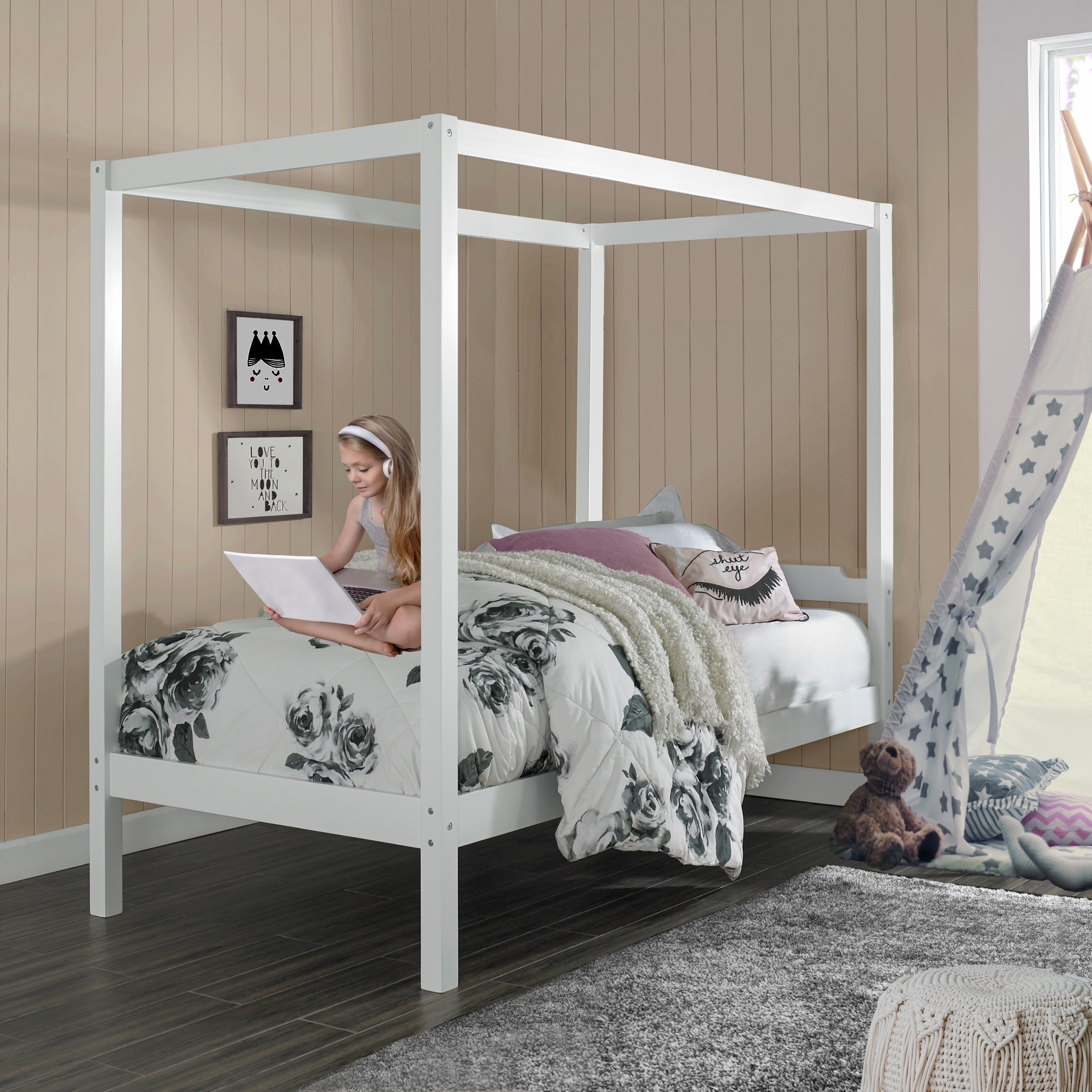 - Shop Porch & Den Neville Wood Twin-size Canopy Bed - On Sale