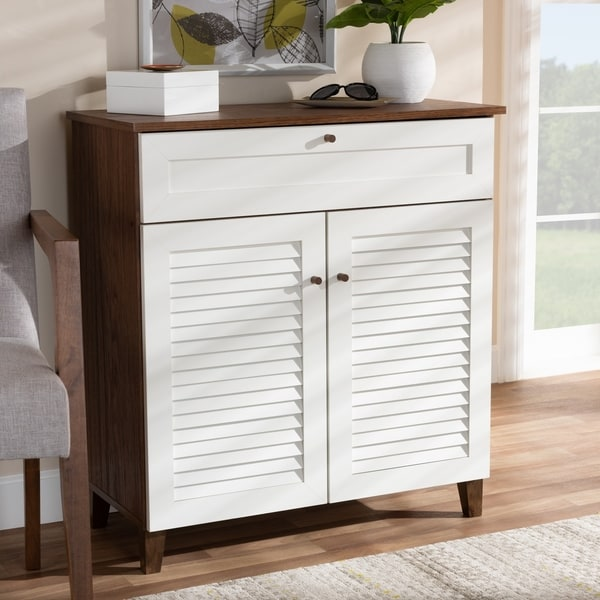 Coolidge Modern and Contemporary 4-Shelf Shoe Cabinet with Drawer
