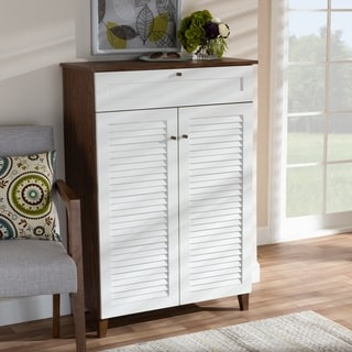 Coolidge Modern and Contemporary 5-Shelf Shoe Cabinet with Drawer